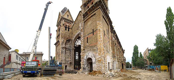 Restoration of St. Paul's church in Odessa. Pile foundation